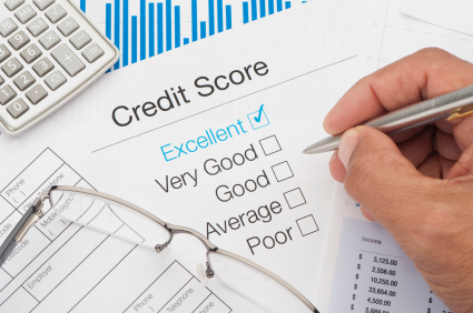Excellent Credit Score with writing hand